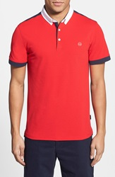 Ag Jeans Green Label 'The Deuce' Short Sleeve Polo Victory Red