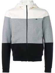 Z Zegna Colour Block Zipped Hoodie Grey