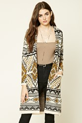 Forever 21 Ribbed Tribal Pattern Cardigan