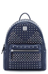 Mcm 'Small Special Stark' Studded Leather Backpack Blue Dress Blue