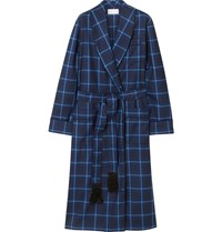 Derek Rose York Checked Wool Robe Blue
