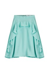 Carven Crepe Skirt With Ruffles Turquoise
