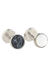 Trafalgar Brentwood' Reversible Onyx And Mother Of Pearl Cuff Links Silver Black White