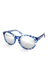 Aqs Sunglasses Women's Daisy Blue Acetate Mirrored Sunglasses