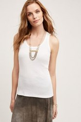Anthropologie Ribbed Scoop Tank White