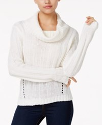 Hooked Up By Iot Juniors' Rib Knit Cowl Neck Sweater Spiritual Vanilla