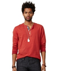 Denim And Supply Ralph Lauren Flag Placket Henley Sailor Red