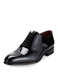 Magnanni Cap Toe Patent Leather Oxford Shoe Black