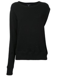 R 13 R13 One Sleeve Sweatshirt Black