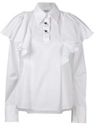 Kenzo Oversized Ruffled Blouse White