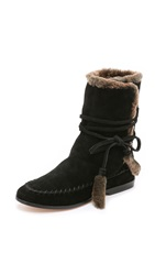Cynthia Vincent Hustle Shearling Boots Black Brown