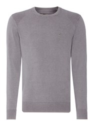 Label Lab Powder Wash Crew Neck Knitted Jumper Light Grey