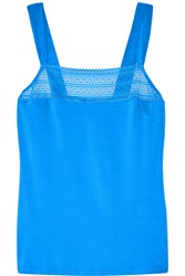 Cosabella Ollie Lace Trimmed Stretch Jersey Camisole Blue