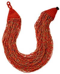 Macy's Gold Tone Chunky Seed Bead Necklace Coral