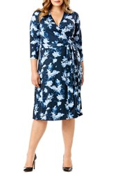 Mynt Plus Size Women's 1792 Print Jersey Midi Length Wrap Dress Exotic Floral Blue