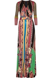 Etro Wrap Effect Printed Silk Jersey Maxi Dress Black
