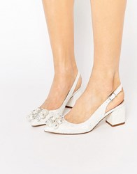 Asos Shimmer Embellished Pointed Heels White Lace