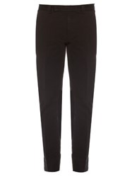 Fendi Slim Leg Stretch Cotton Chino Trousers Black