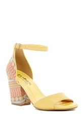 French Blu Woven Ankle Strap Open Toe Sandal Yellow