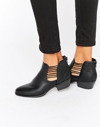 London Rebel Cut Out Ankle Boots Black Pu