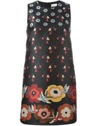 Red Valentino Floral Print Shift Dress Black
