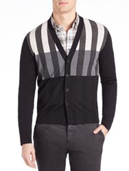 Tomas Maier New Fine Merinos Virgin Wool Cardigan Black Granite Chalk