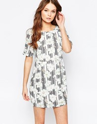 Yumi Shift Dress In Daisy Stripe Print Navywhite