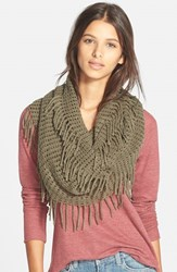 Junior Women's Bp. Fringe Trim Infinity Scarf Green Olive