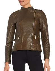 Vince Camuto Leather Front Zip Moto Jacket Olive