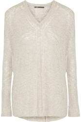 Vince Pointelle Knit Sweater Gray