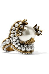 Gucci Gold Tone Faux Pearl Ring