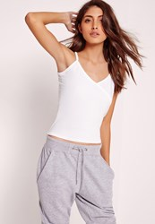 Missguided Cami Wrap Detail Crop Top White White
