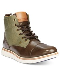 Tommy Hilfiger Men's Ferguson Chukka Boots Men's Shoes Dark Brown Army Green