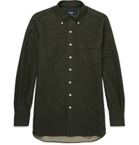 Drakes Drake's Button Down Collar Brushed Cotton Shirt Green