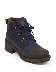 Lucky Brand Akonn Quilted Sherpa Lined Booties Navy Blue