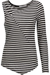 Kain Label Moore Asymmetric Striped Modal Top Black