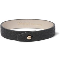 Valextra Pebble Grain Leather Bracelet Dark Gray