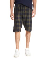 Vince Plaid Drop Rise Drawstring Shorts Blue Green