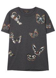 Valentino Grey Butterfly Appliqued Cotton T Shirt