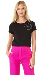 Nina Ricci Short Sleeve Tee With Embroidered Dove Black