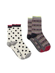 White Stuff Heart Fairisle 2 Pack Grey
