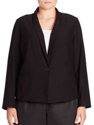 Eileen Fisher Solid Button Front Blazer Black