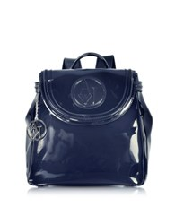 Armani Jeans Faux Patent Leather Backpack Blue