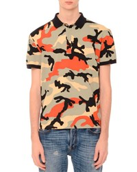 Valentino Camo Print Short Sleeve Polo Shirt Multicolor Multi Colors