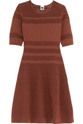 M Missoni Crochet Knit Cotton Blend Dress Brown