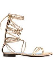 Lanvin Braided Strappy Sandals Metallic