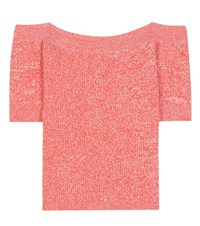 Ganni Michi Knitted Off The Shoulder Top Red