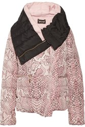 Just Cavalli Quilted Snake Print Shell Coat