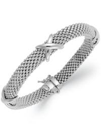 Macy's Sterling Silver Bracelet Mesh X Accent Bangle