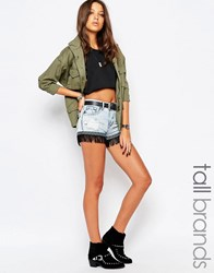 Glamorous Tall Acid Wash Fringed Hem Denim Shorts Blue